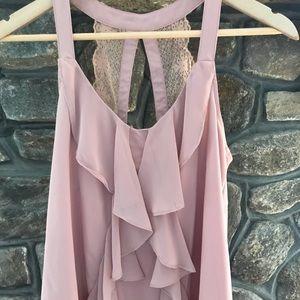 Lauren Conrad blush color tank with lace detail